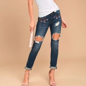 Machine Brand floral embroidered jeans